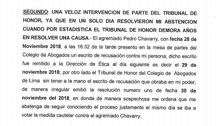 Parte de la acción de amparo que presentó Walter Ayala contra la recusación admitida en su contra en el proceso contra Pedro Chávarry.