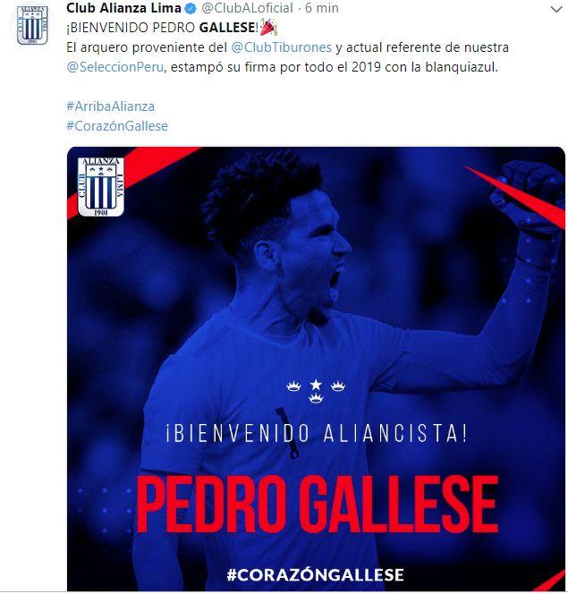 Pedro Gallese jugará un año en Alianza Lima.