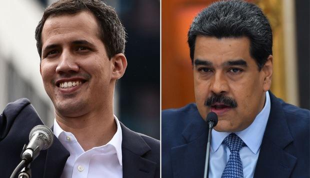 El jefe de la Asamblea Nacional de Venezuela, Juan Guaido, saludando a la multitud durante un mitin de oposición y el presidente de Venezuela, Nicolás Maduro, durante una conferencia de prensa. (Foto: AFP)