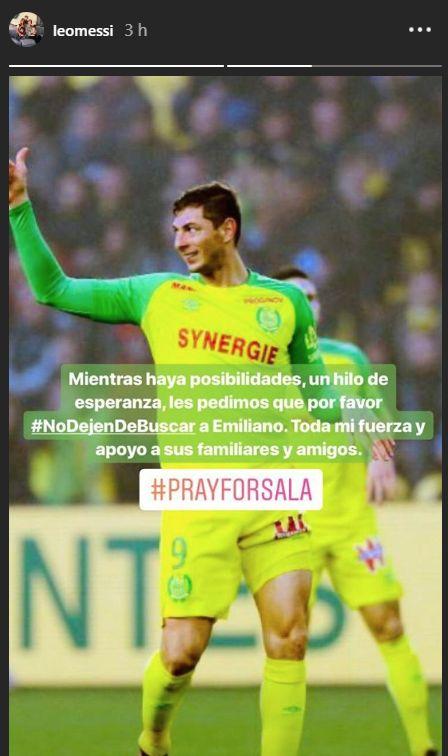El mensaje de Lionel Messi por Emiliano Sala. (Captura: Instagram)