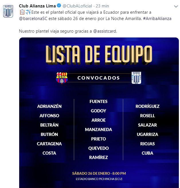 La lista de convocados de Alianza Lima. (Foto: Alianza Lima)