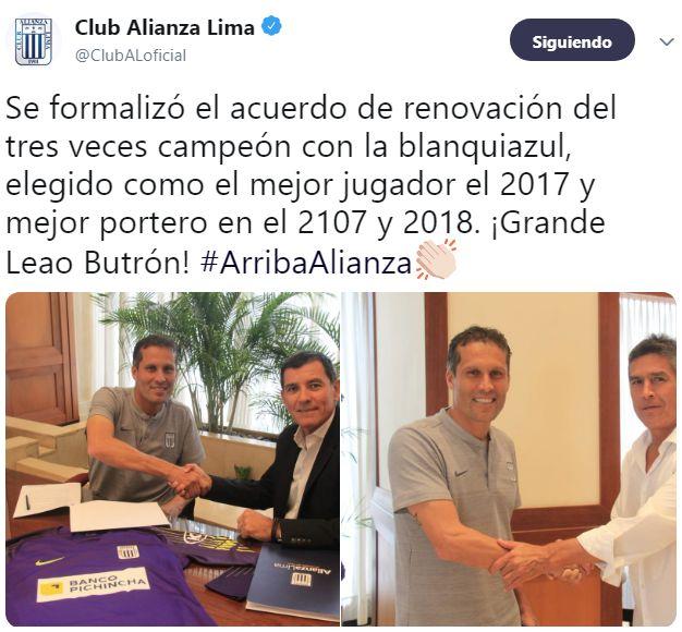 El anuncio de la renovación de contrato de Leao Butrón.