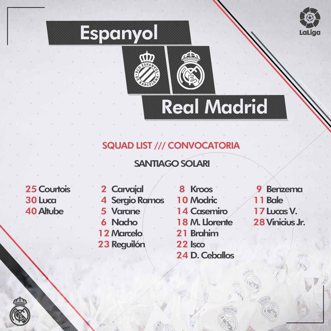 Lista de convocados de Real Madrid para juego ante Espanyol.