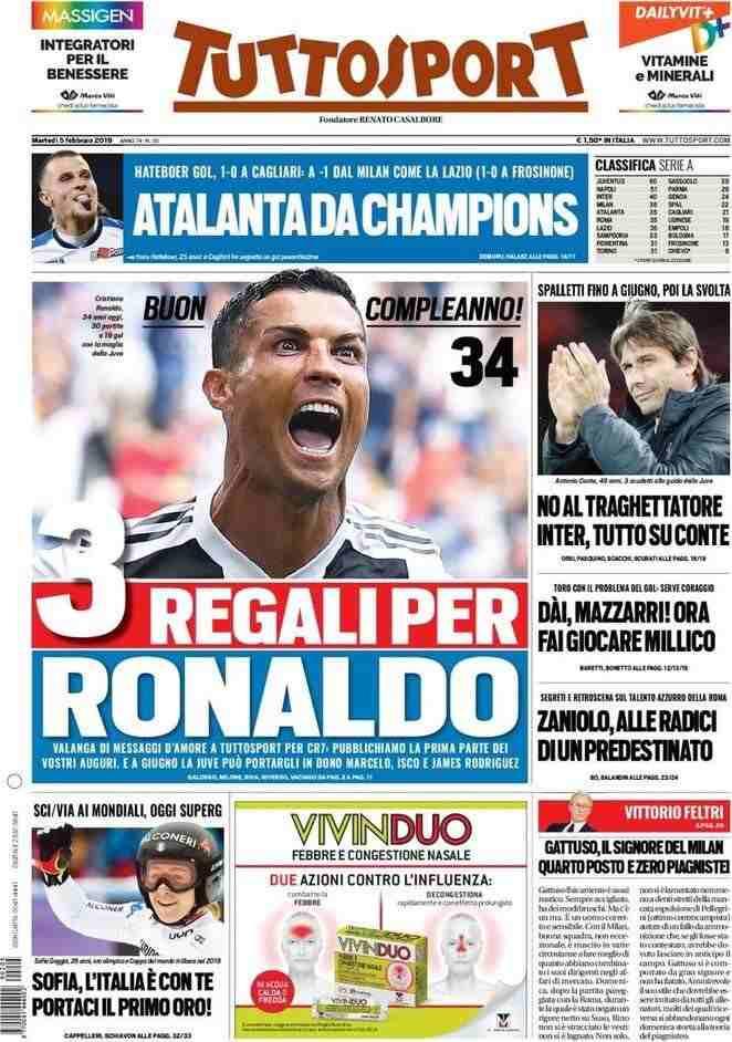 La portada del diario Tuttosport con los regalos para Cristiano Ronaldo. (Foto: Twitter)