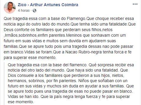 Las condolencias de Zico en Facebook.