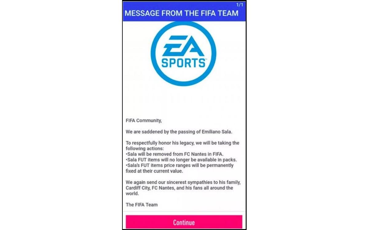 El comunicado al que pudieron acceder los gamers en FIFA 19 y que EA Sports replicó de forma pública.