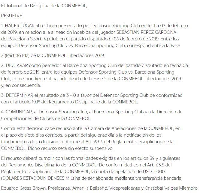 Conmebol y su fallo ante reclamo de Defensor Sporting contra Barcelona de Ecuador. (Foto: Conmebol)