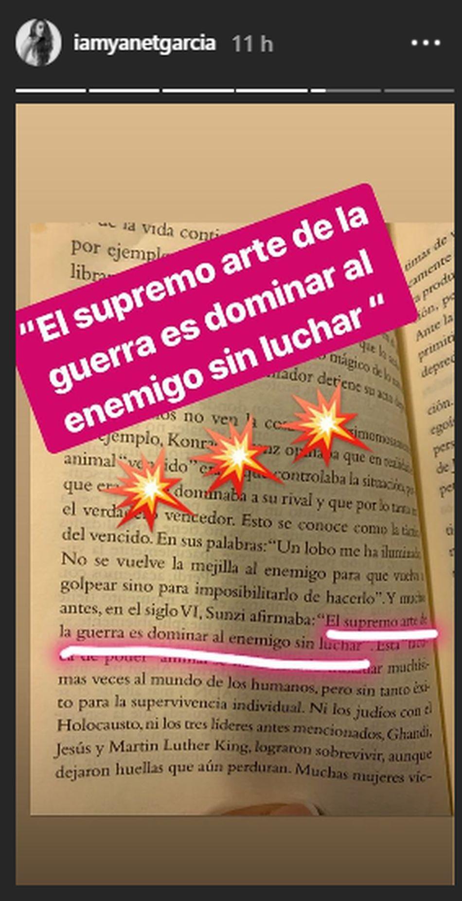 'El arte de la guerra' de Sun Tzu es el nuevo libro que está leyendo Yanet García. (Foto: Instagram)