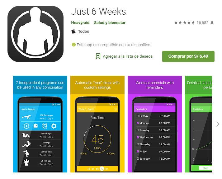 Just 6 weeks creará un programa personalizado para ti. (Foto: Google Play)