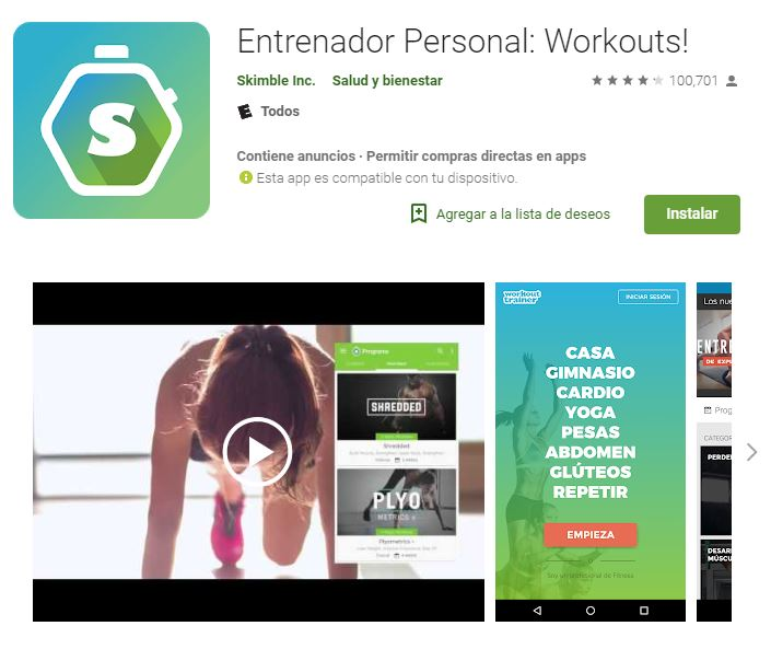 Esta app te guiará a realizar rutinas de alta intensidad, levantamiento de pesas, escalada en roca y yoga. (Foto: Google Play)
