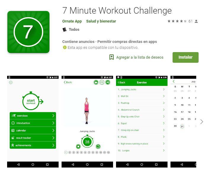 Con solo siete minutos, tres veces por semana, la app te asegura grandes cambios. (Foto: Google Play)