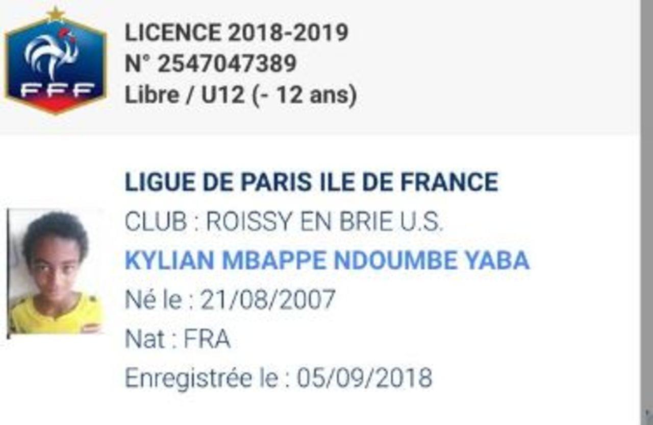 Así luce la ficha de Kylian Mbappé, el niño de once años. (Foto: Le Parisien)