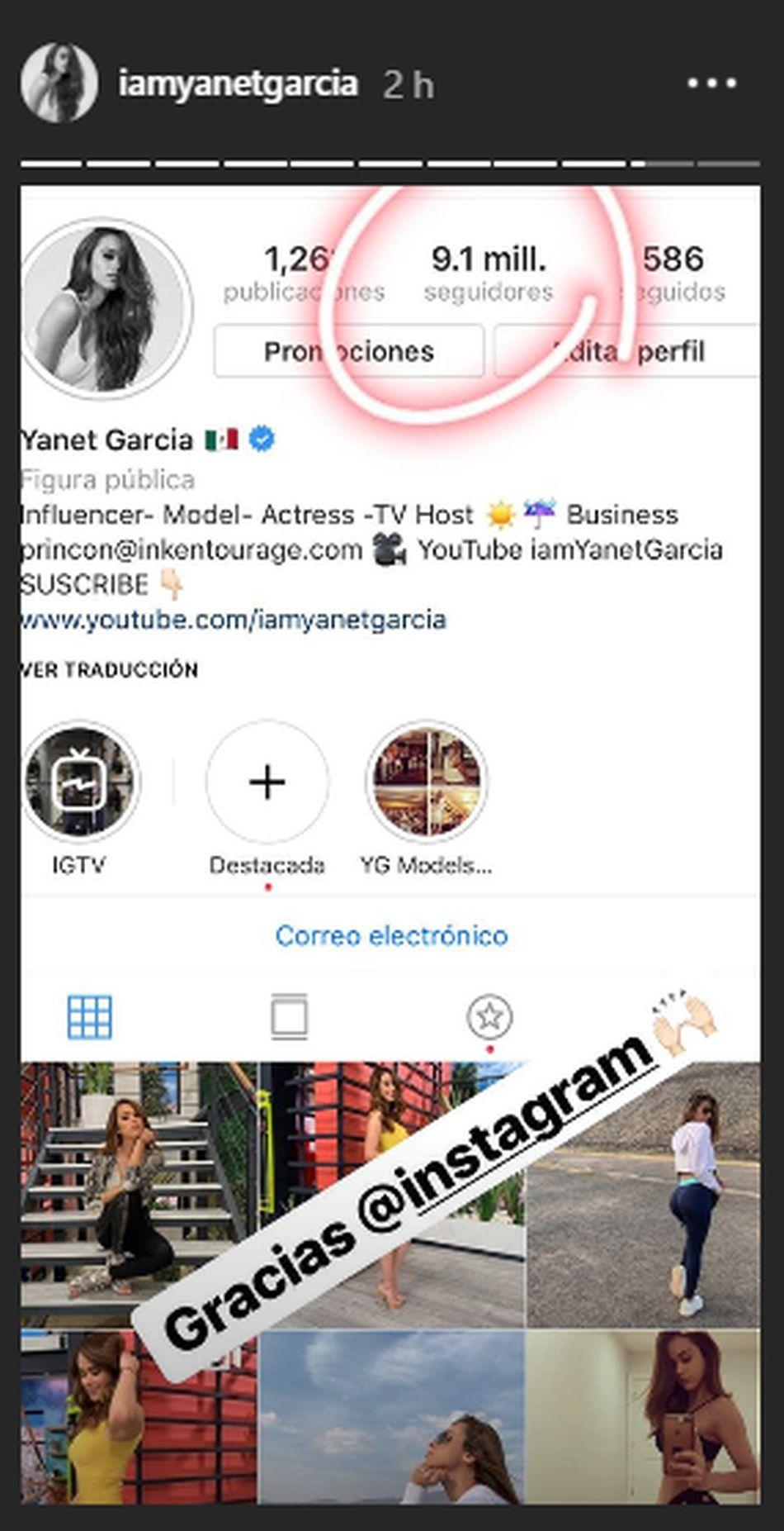 Yanet García recuperó a sus seguidores. (Foto: Instagram)