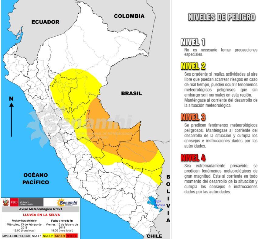 Precipitaciones en la selva centro y sur del país. (Foto: Senamhi)