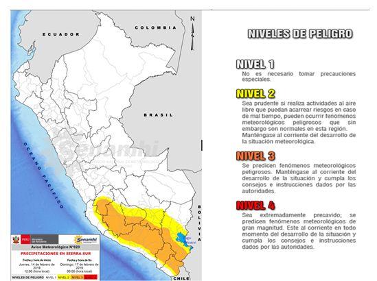 Precipitaciones en la sierra sur del país.(Foto: Senamhi)
