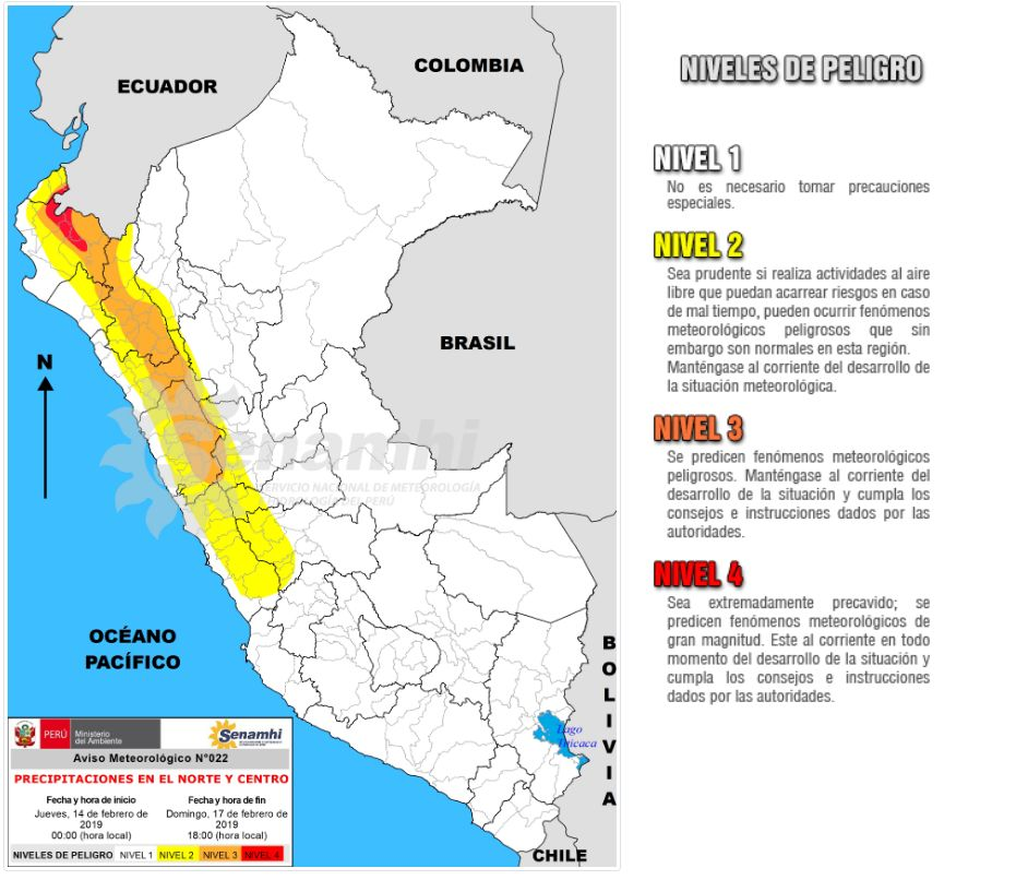 Precipitaciones en la costa y en la sierra norte y centro del país. (Foto: Senamhi)