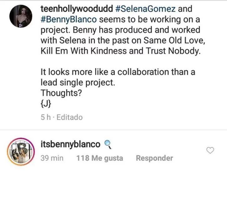 Esta fue la respuesta de Benny Blanco en la red social. (Foto: Instagram)