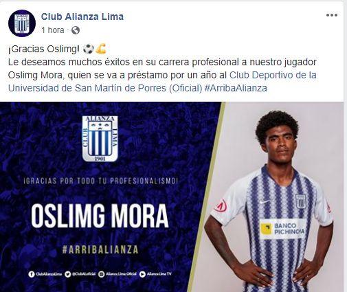 Oslimg Mora jugará un año en la Universidad San Martín.