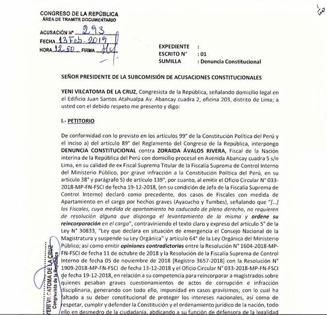 Esta es la nueva denuncia constitucional presentada contra Zoraida Ávalos. (Foto: Difusión)