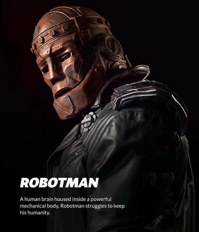 """""""Un cerebro humano alojado dentro de un poderoso cuerpo mecánico. Robotman lucha por mantener su humanidad"""" (Foto: Universe)"""
