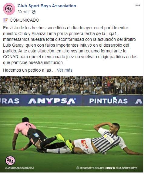 Sport Boys presentará un reclamo contra Luis Garay.