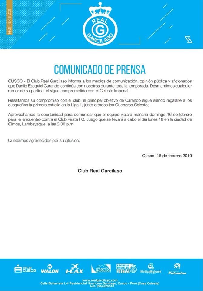 Real Garcilaso y su comunicado sobre la situación de Danilo Carando.