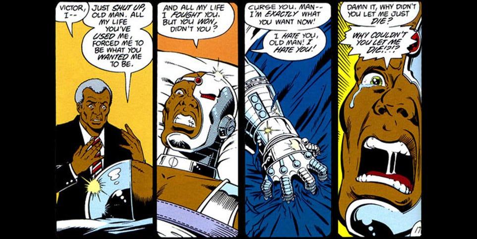 Cyborg en los cómics preferiría haber muerto que convertirse en el hombre mitad máquina que su padre creó para salvarle la vida (Foto: DC Comics)