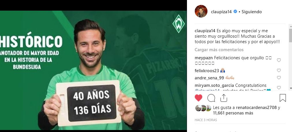 El festejo del logro de Claudio Pizarro en Instagram.