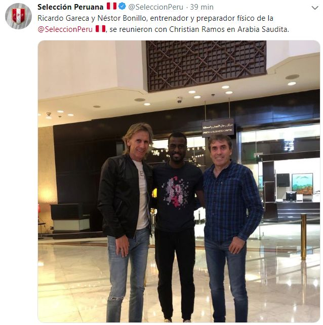 Ricardo Gareca y Néstor Bonillo se juntaron con Christian Ramos. (Foto: Selección peruana)