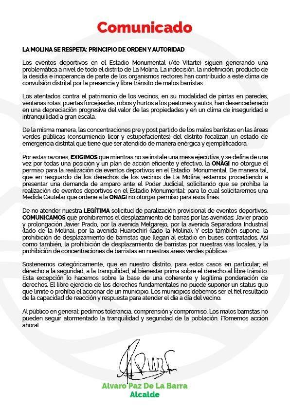 Este es el comunicado del alcalde de La Molina, Álvaro Paz de la Barra, sobre su pedido para que no se jueguen más partidos en el estadio Monumental. (Facebook)