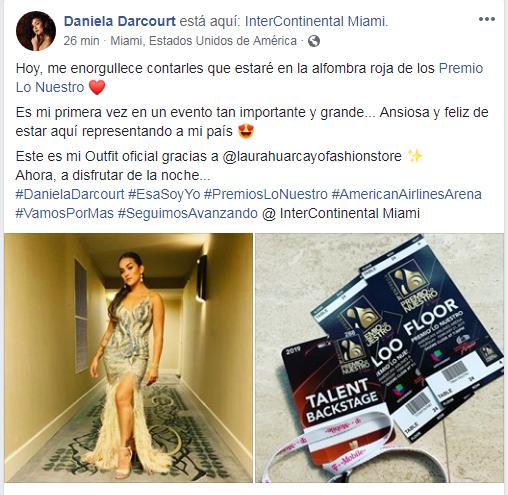Daniela Darcourt anuncia que participará de la alfombra roja de Premios Lo Nuestro 2019. (Foto: Facebook)