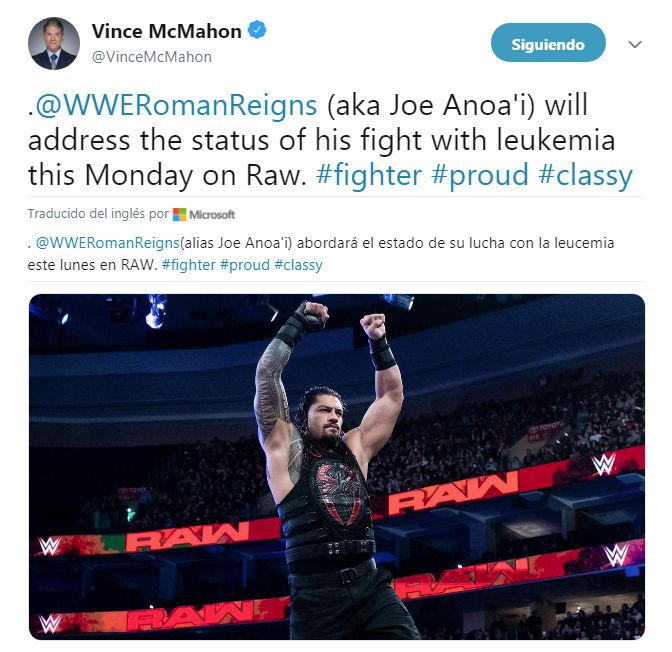 El anuncio deVince McMahon sobre Roman Reigns.