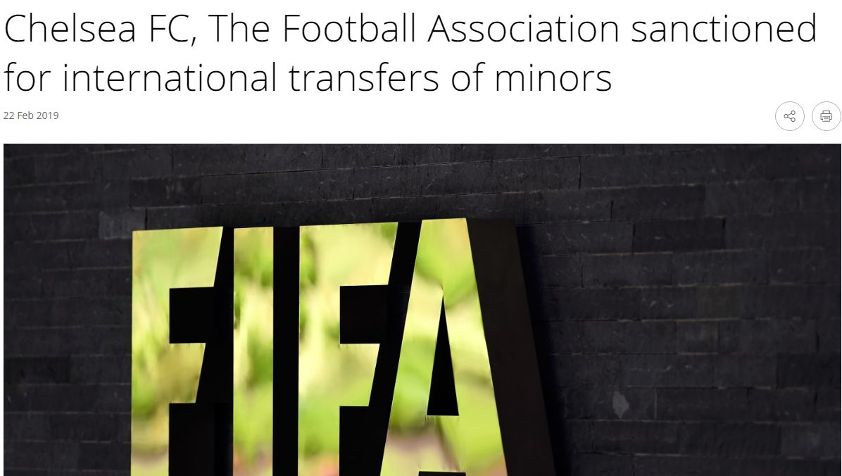 Chelsea fue sancionado por la FIFA debido a irregularidades en transferencias internacionales de menores.