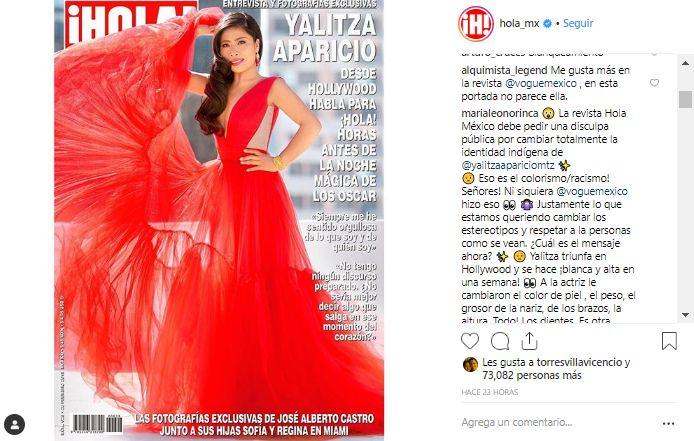 La actriz Yalitza Aparicio apareció en la portada de la revista ¡Hola! México y generó comentarios divididos. (Foto: Instagram)