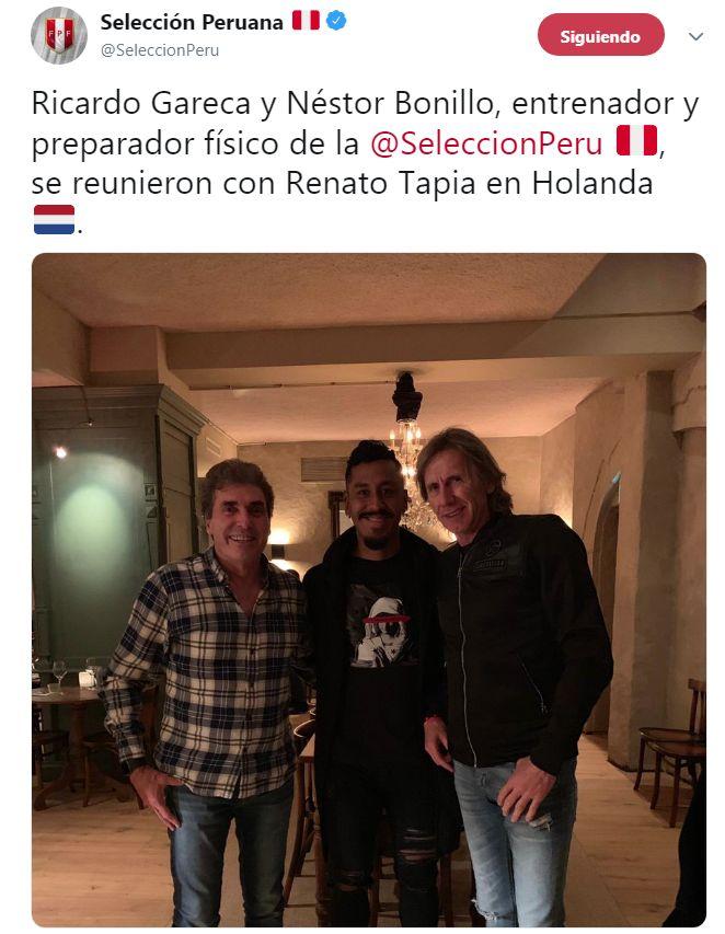 icardo Gareca y Néstor Bonillo se juntaron con Renato Tapia. (Foto: Selección peruana)