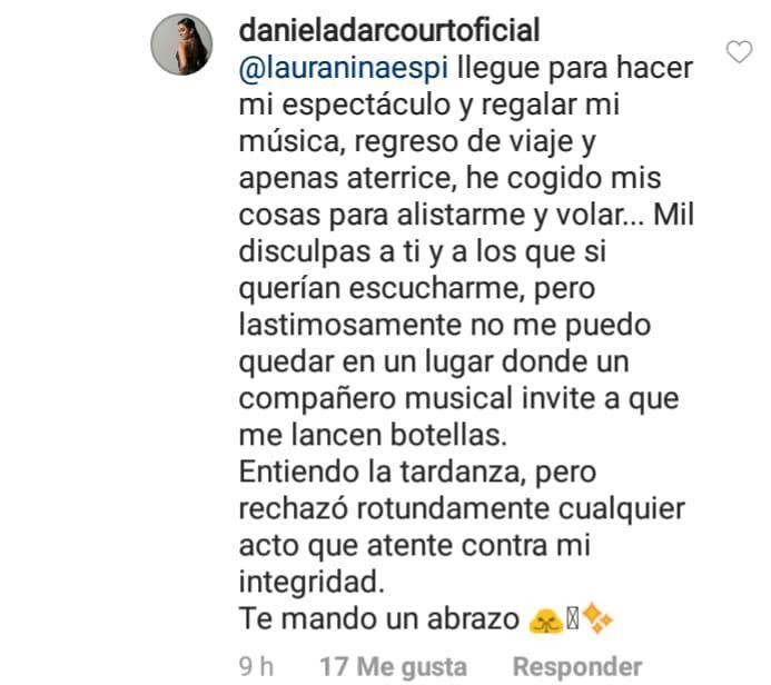 Esta fue la respuesta de Daniela Darcourt a un usuario de Instagram. (Foto: Captura)