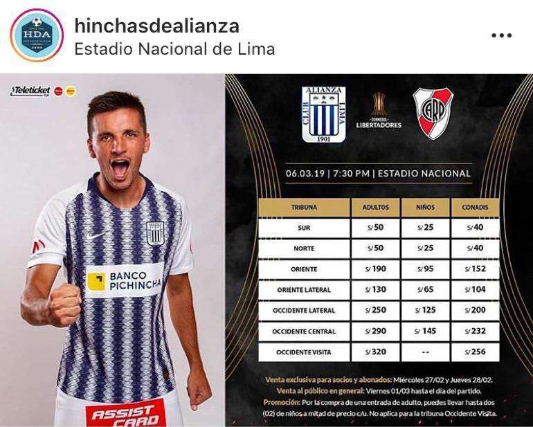 Estos son los precios de las entradas para el partido Alianza Lima vs. River Plate.