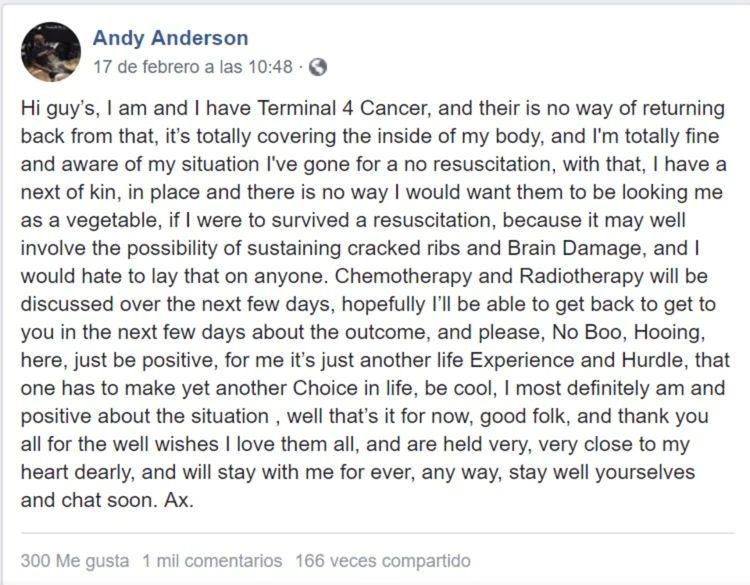 Este es el mensaje de Andy Anderson en Facebook.