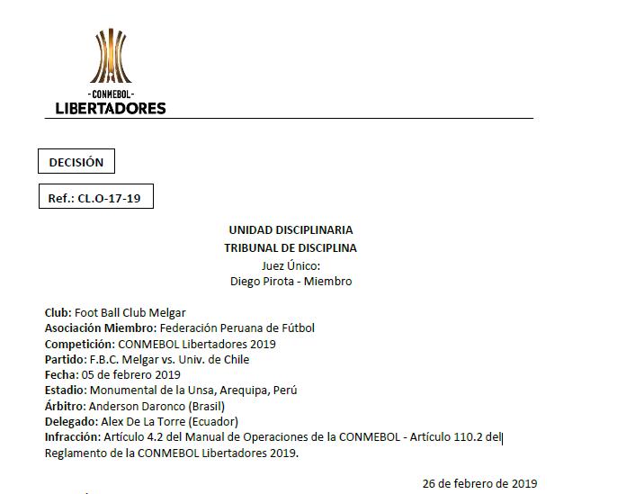 La resolución de la Conmebol tras el Melgar vs. Universidad de Chile jugado en Arequipa. (Foto: Conmebol)