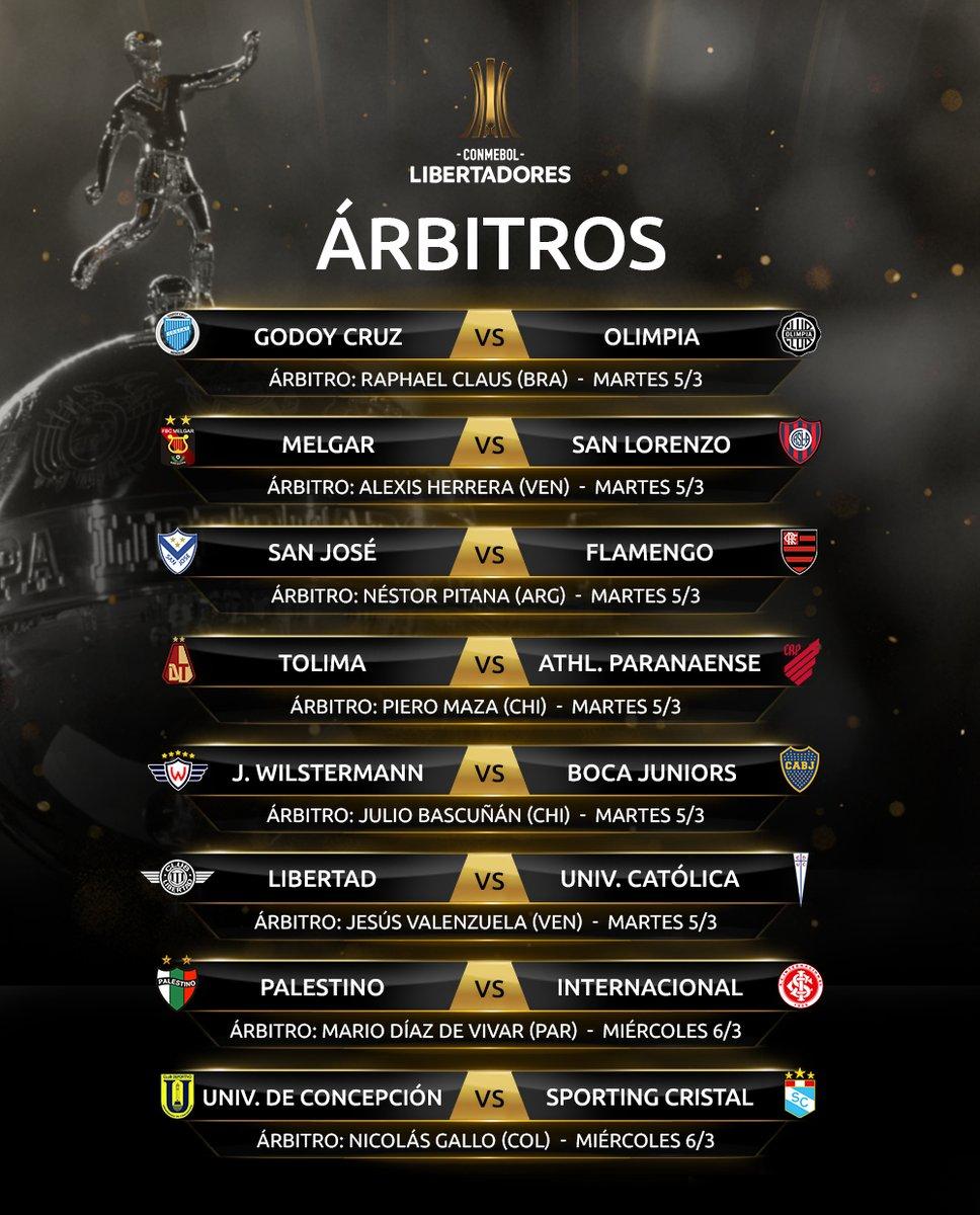 Árbitros de la primera fecha de la fase de grupos de la Copa Libertadores. (Foto: Conmebol Libertadores)