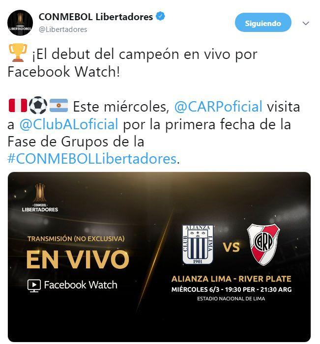 Alianza Lima y River Plate jugarán por la fecha 1 del Grupo A de Copa Libertadores.