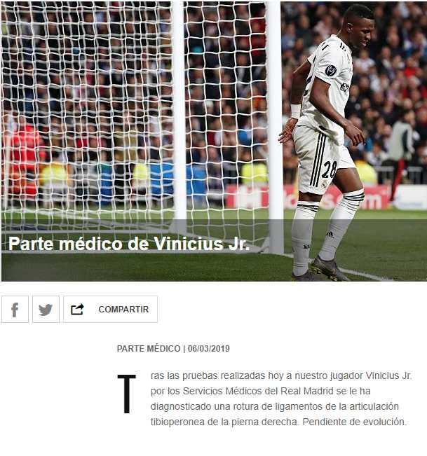 Así informó Real Madrid sobre la lesión de Vinicius Junior. (Portal Real Madrid)