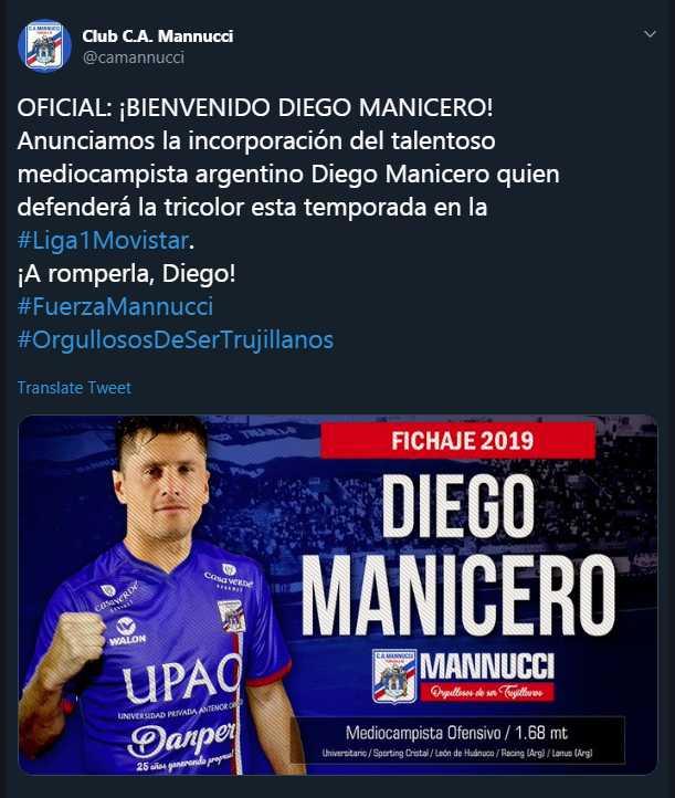 Diego Manicero fue anunciado como jugador de Carlos A. Mannucci. (Foto: GEC)