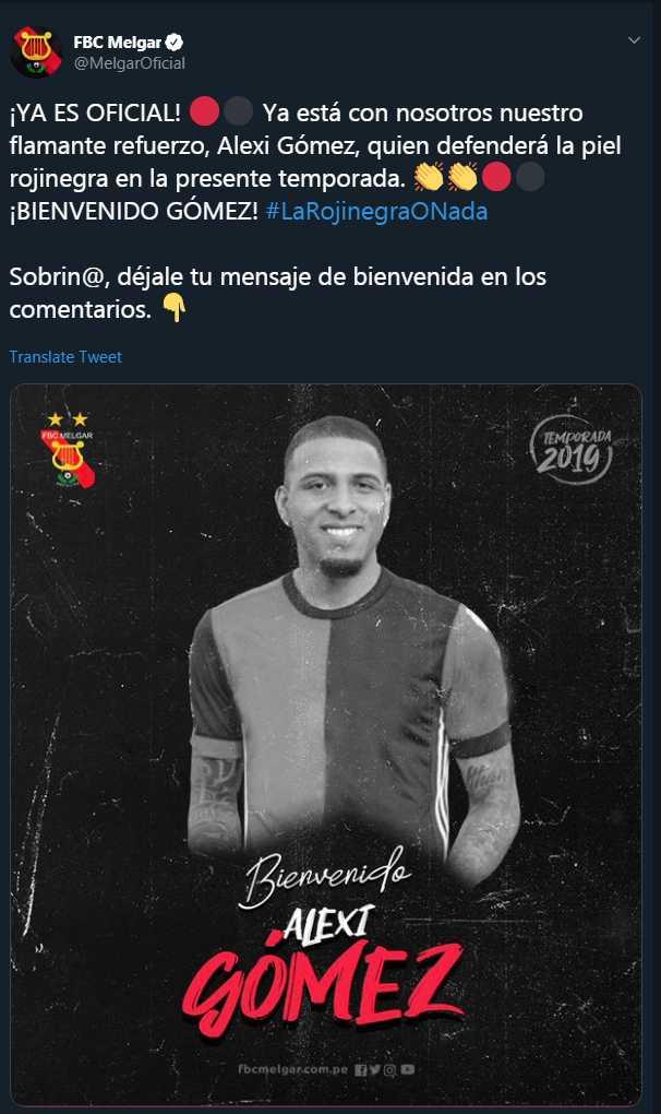 Alexi Gómes fue oficializado como jugador de Melgar. (Foto: Twitter Melgar)