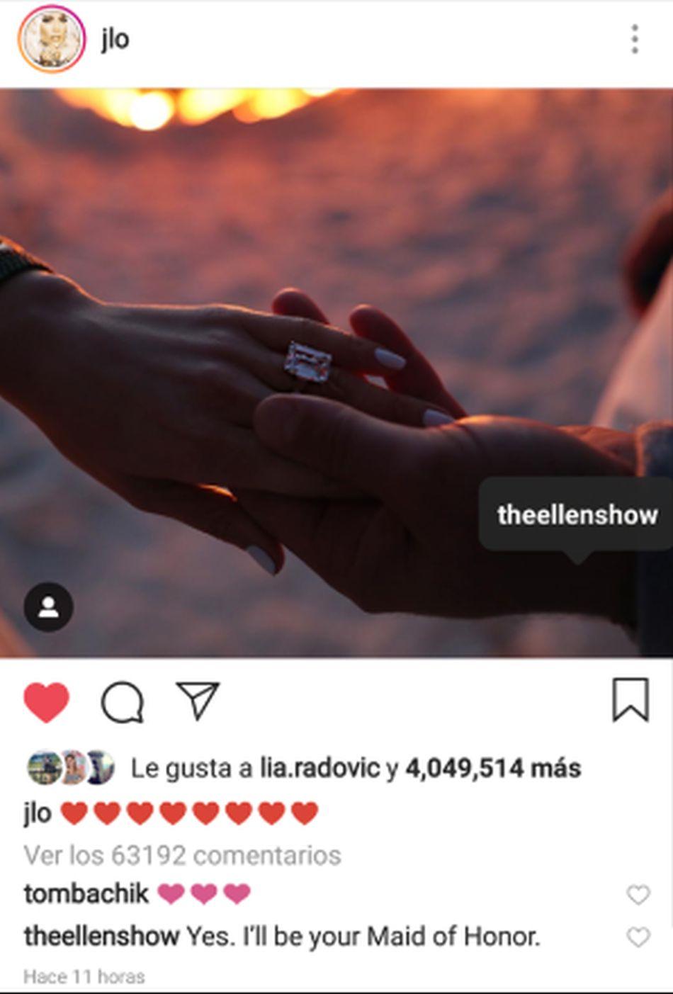 JLo no etiquetó a su prometido en la importante publicación sino a la popular presentadora estadounidense. (Foto: Instagram)