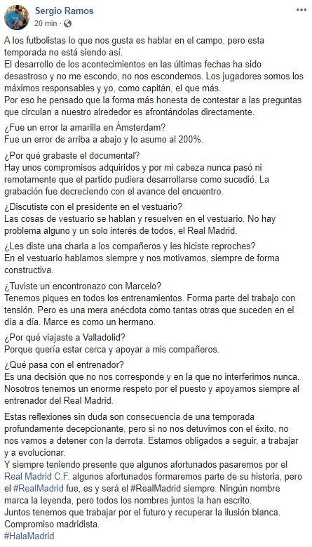 El testimonio de Sergio Ramos sobre la situación de Real Madrid. (Instagram)