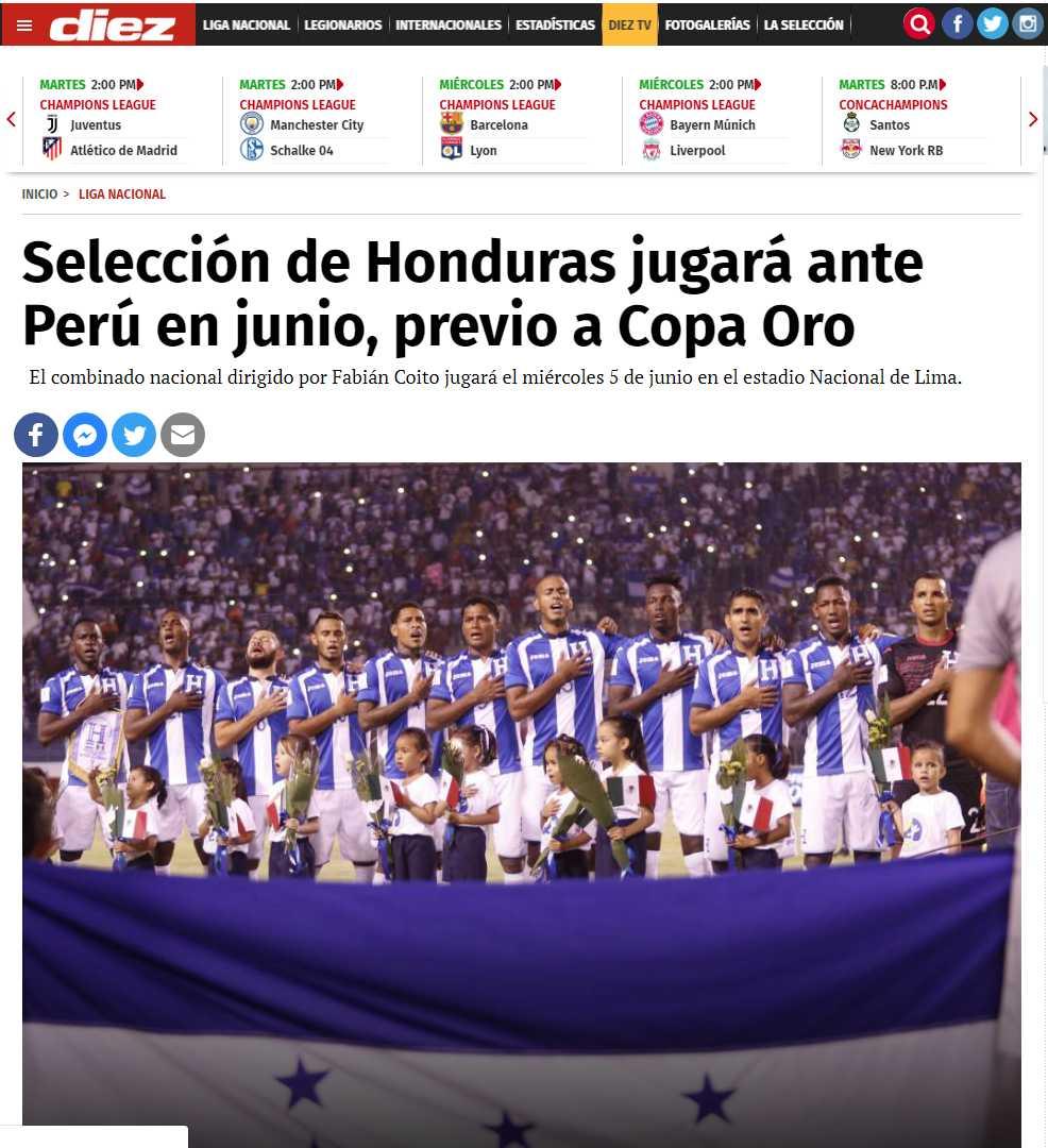 Así informó Diez de Honduras del próximo amistoso de Perú. (Tomado de Diez.hn)