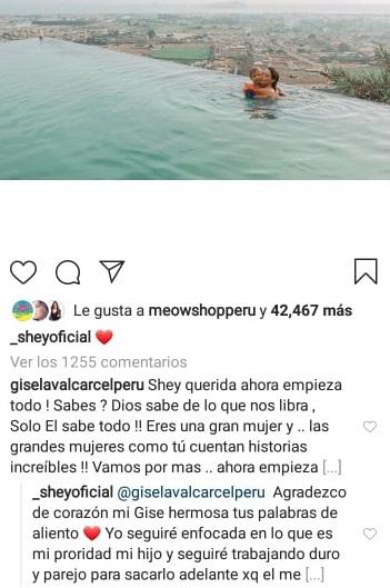 Gisela Valcárcel muestra su apoyo a Sheyla Rojas. (Captura de Instagram)