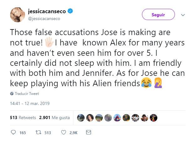 Este es el mensaje de Jessica Canseco negando una relación con el prometido de Jennifer Lopez. (Foto: Twitter)
