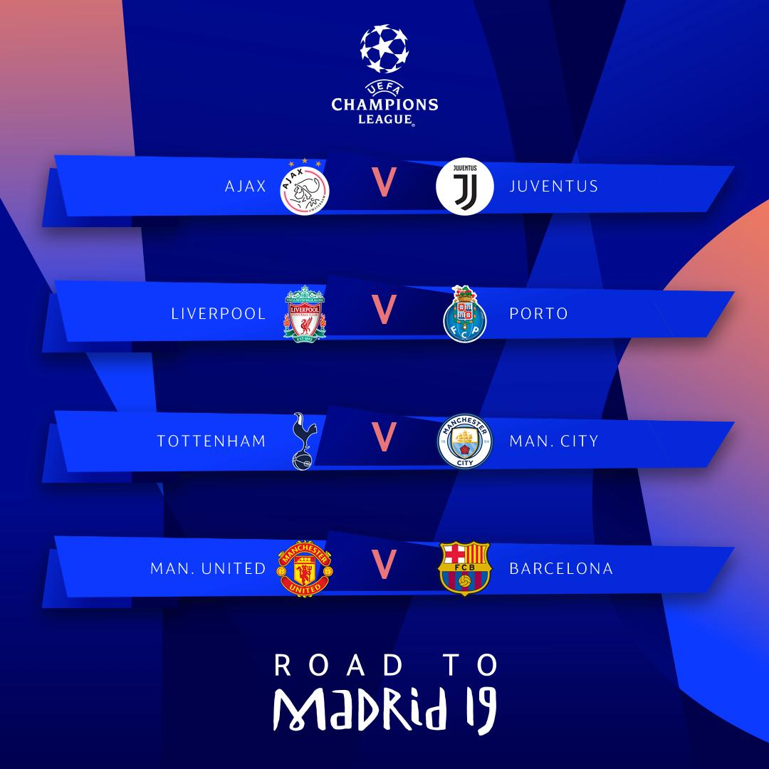 Las llaves de cuartos de final de la Champions League. (Foto: UEFA)